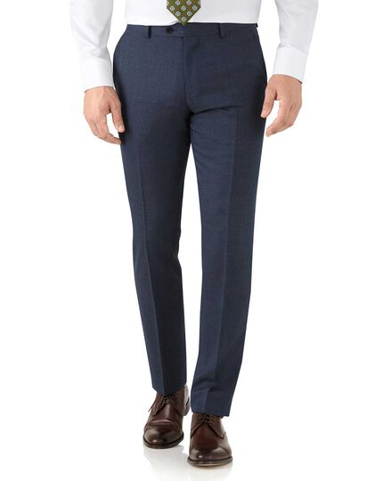 Airforce blue slim fit hairline business suit trousers