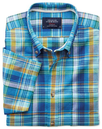 Slim fit short sleeve green and blue check shirt