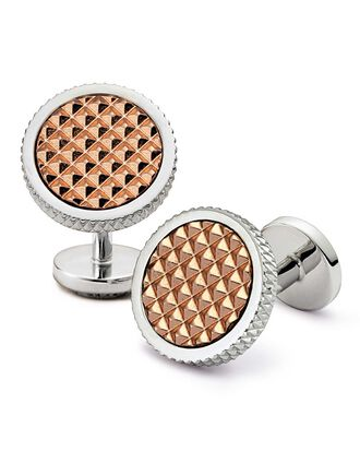 Silver round textured metal cuff links