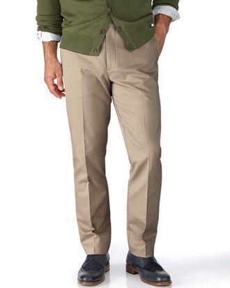 Pantalon chino beige extra slim fit à devant plat sans repassage