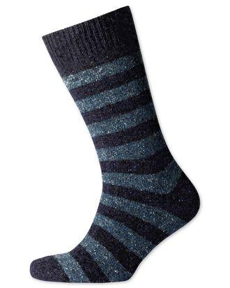 Chaussettes épaisses bleu marine et bleu ciel à rayures