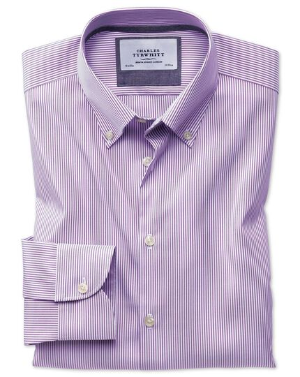 Slim fit button-down business casual non-iron violet stripe shirt