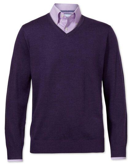 Purple merino wool v-neck jumper