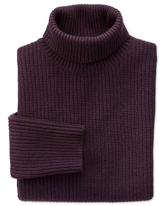 Wine rib roll neck sweater