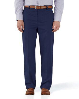 Pantalon chino bleu marine coupe droite à devant plat sans repassage