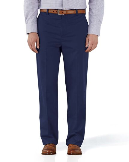 Marine blue classic fit flat front non-iron chinos