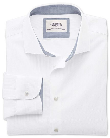 Classic fit semi-spread collar business casual textured white shirt