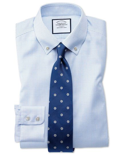 Classic fit button down non-iron twill mini grid check sky blue shirt