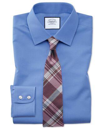 Chemise bleue en popeline sans repassage slim fit