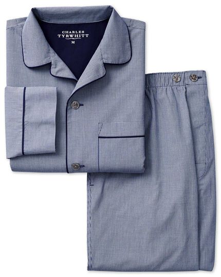 Ensemble de pyjama bleu marine en coton à micro vichy