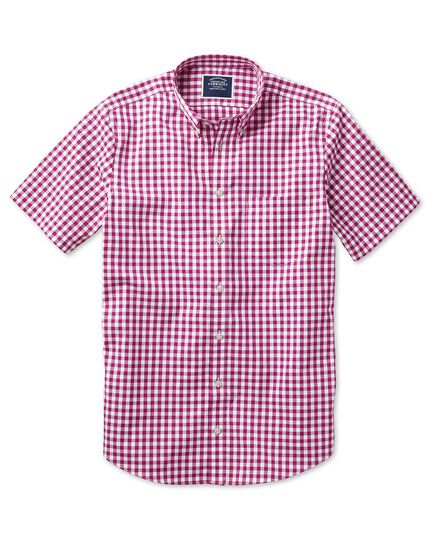 Slim fit button-down non-iron poplin short sleeve raspberry gingham shirt