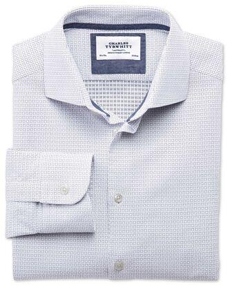 Extra Slim Fit Business-Casual Hemd mit Semi-Haifischkragen in Weiß und Marineblau mit quadratischem Dobbi-Muster