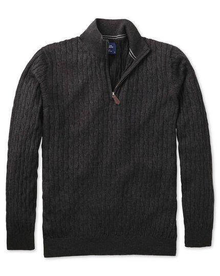 Charcoal cotton cashmere cable zip neck jumper