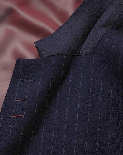 Navy stripe classic fit flannel business suit jacket