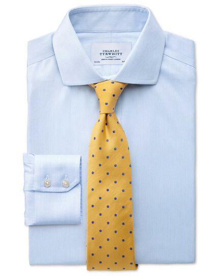 Extra slim fit spread collar non-iron mouline stripe sky blue shirt
