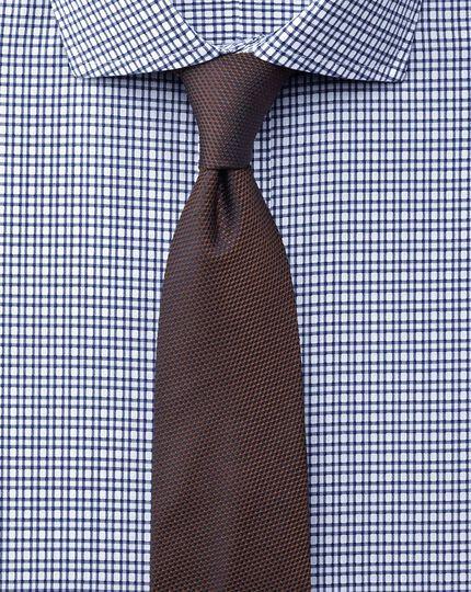 Slim fit cutaway collar non-iron dobby check navy shirt