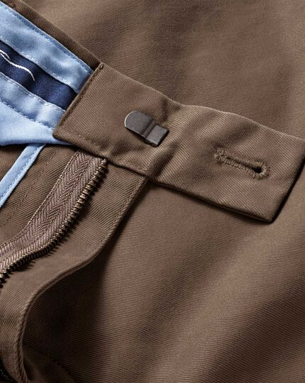Light brown slim fit flat front chinos