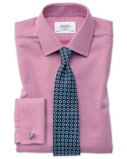 Classic fit non-iron square weave magenta shirt