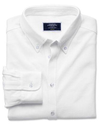 Jersey-Oxfordhemd in Weiß