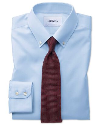 Slim fit button-down non-iron twill sky blue shirt