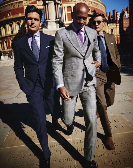 Grey check slim fit British Panama luxury suit pants