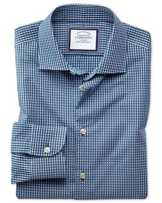 Slim fit business casual non-iron modern textures navy blue and green shirt