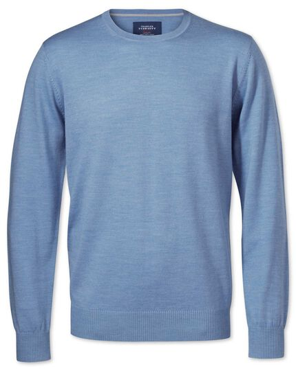 Sky merino wool crew neck sweater