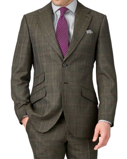 Khaki slim fit thornproof luxury suit jacket