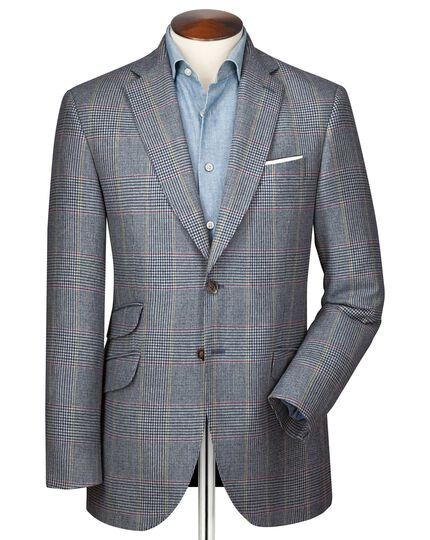 Classic fit blue Prince of Wales check luxury border tweed jacket