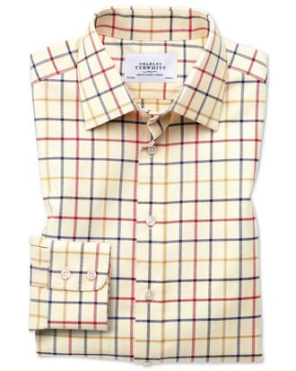 Classic fit country check red and blue shirt