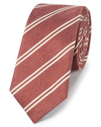 Rust silk linen slim stripe classic tie