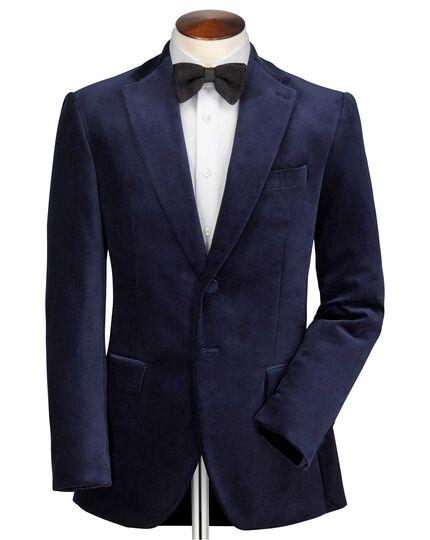 Slim fit navy velvet blazer