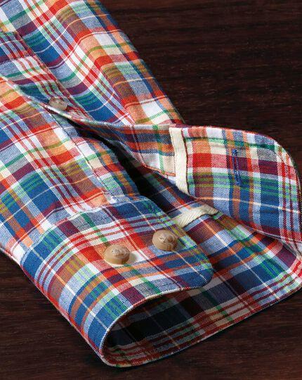Classic Fit Hemd in Orange und Blau mit Karos