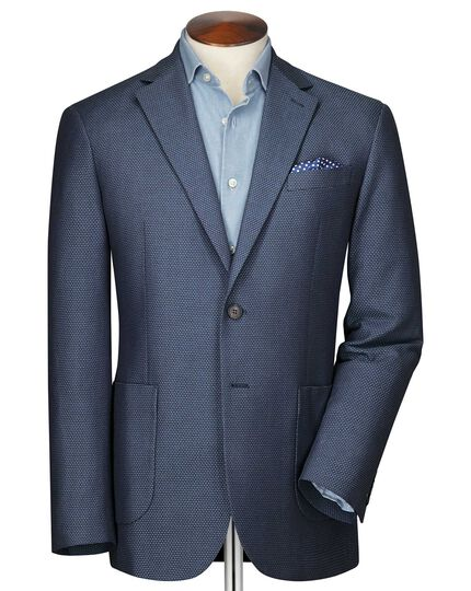 Slim fit blue and sky semi-plain jacket