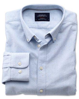 Chemise bleu ciel mouchetée en oxford moderne coupe droite