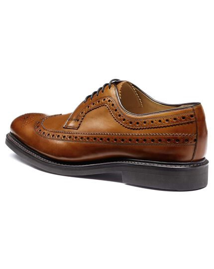 Tan Goodyear welted Derby brogue shoe