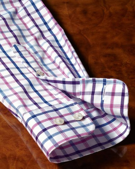 Chemise lilas en popeline extra slim fit à carreaux et col boutonné sans repassage