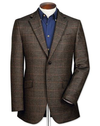 Slim fit brown check lambswool jacket