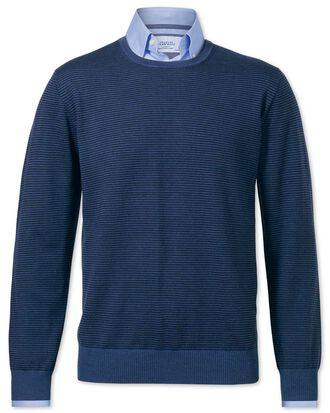 Navy and blue merino wool crew neck jumper