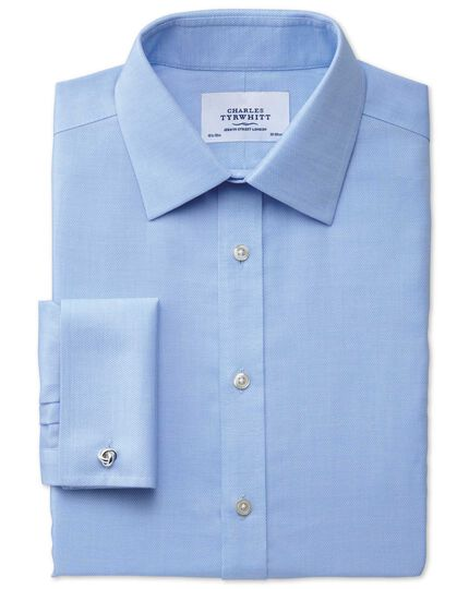 Slim fit non-iron micro spot sky blue shirt