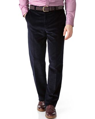 Navy classic fit jumbo cord trousers