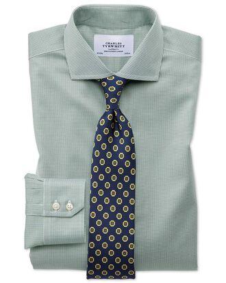 Bügelfreies Slim Fit Hemd mit Haifischkragen in olivgrün mit Hahnentritt