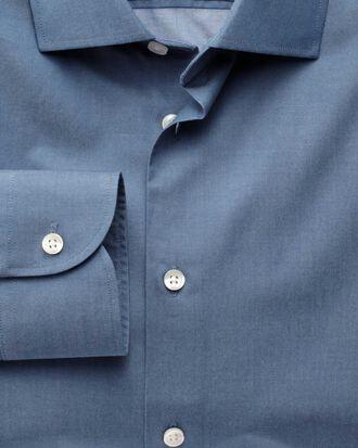 Extra Slim Fit Business-Casual Hemd mit Semi-Haifischkragen in Indigoblau