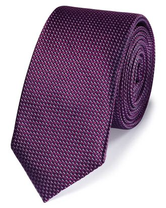 Purple silk slim textured semi plain classic tie