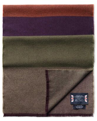 Purple striped merino scarf
