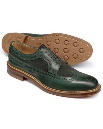 Green Lanescot brogue wing tip Derby shoe