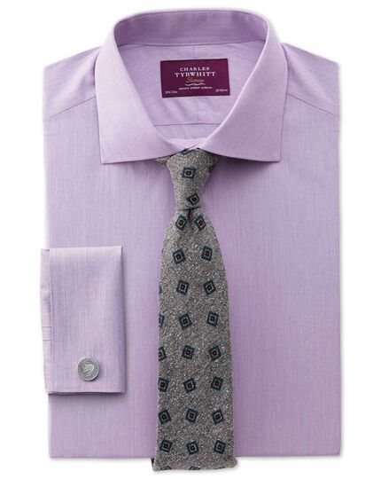 Extra slim fit semi-cutaway collar luxury poplin lilac shirt