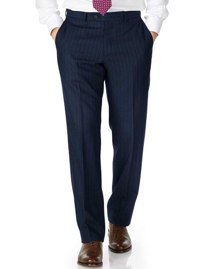Navy classic fit saxony business suit trousers