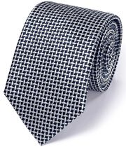 Navy silk classic diamond lattice tie
