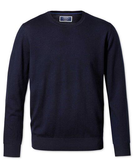 Navy merino wool crew neck sweater